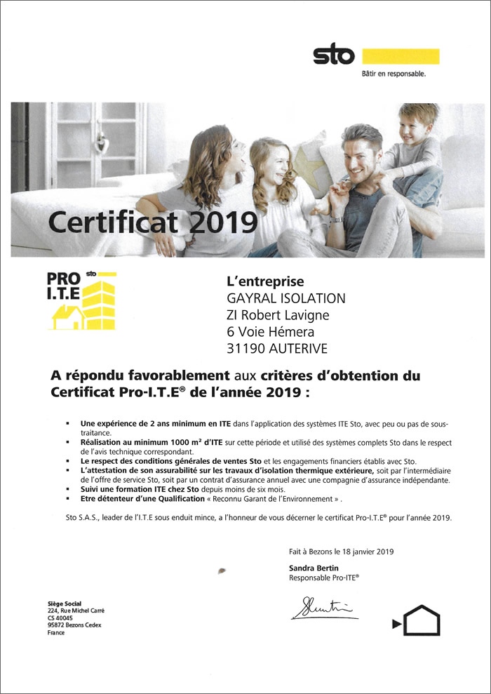 Certificat ITE 2019 - Gayral isolation