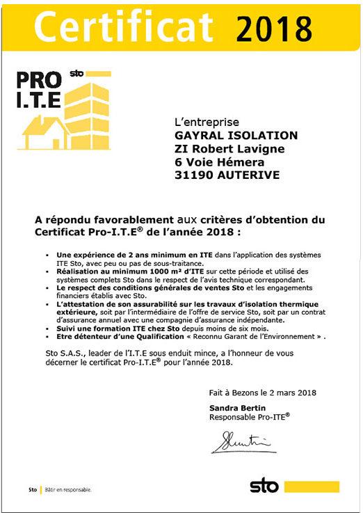 Certificat Pro ITE 2018