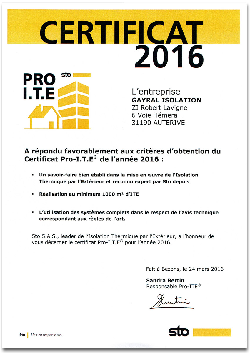 Certificat PRO ITE 2016 STO